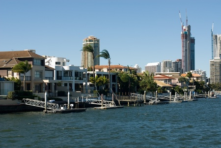 Luxury homes and highrise apartment buildings, Surfers Paradise, Queensland, Australia photo