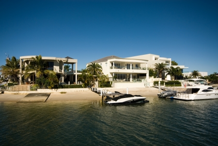 Luxury homes on a waterway, Surfers Paradise, Queensland, Australia