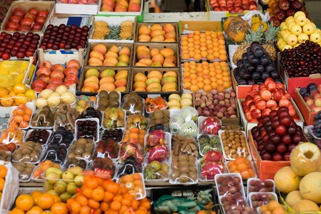 A fresh fruit display at a produce market in Dubai, United Arab Emirates Stock Photo - 12470304