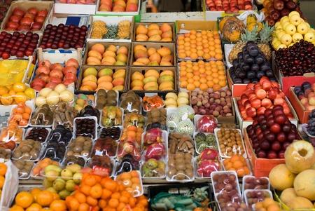 A fresh fruit display at a produce market in Dubai, United Arab Emirates photo