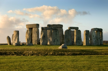 solstice: Stonehenge near Amesbury, Wiltshire, England, in the late afternoon on a cold Winter Stock Photo