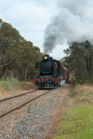 puffing: The steam train on the Goldfields Railway in country Victoria, Australia