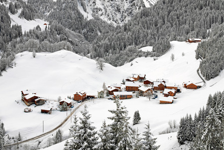 austrian village: A tiny village in the Austrian Alps Stock Photo