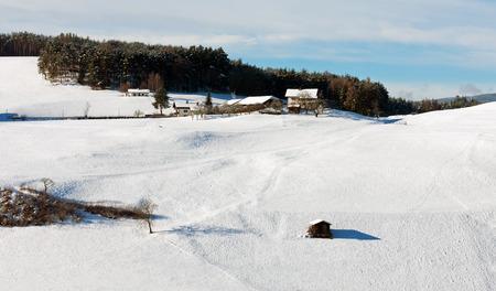 farmhouses: Farmhouses in snow covered farmland, near Castlerotto, Italy