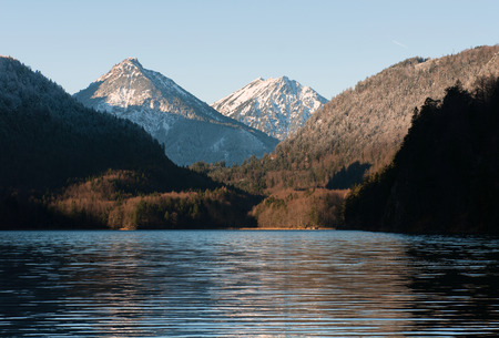 schwangau: Lake Alpsee, in Winter, near Schwangau, Germany Stock Photo