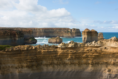 adjacent: The Razorback limestone rock formation, adjacent to the Great Ocean Road, Victoria, Australia Stock Photo