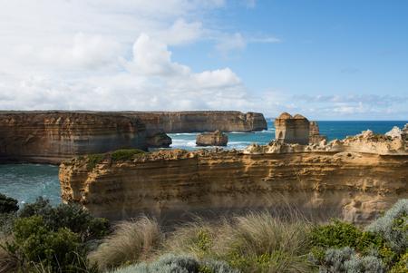 adjacent: The Razorback limestone rock formation, adjacent to the Great Ocean Road, Victoria, Australia Stock Photo