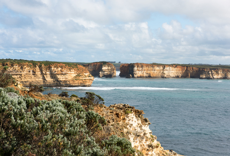coastal erosion: The rugged coastline beside the Great Ocean Road, Southern Victoria, Australia Stock Photo