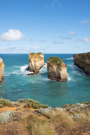 rugged: The rugged coastline beside the Great Ocean Road, Southern Victoria, Australia Stock Photo
