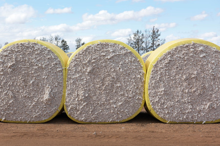 Cotton Bales on a cotton farm near Warren, in New South Wales, Australia