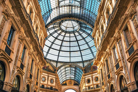 The glass dome of Galleria Vittorio Emanuele II, in central Milan, Italy