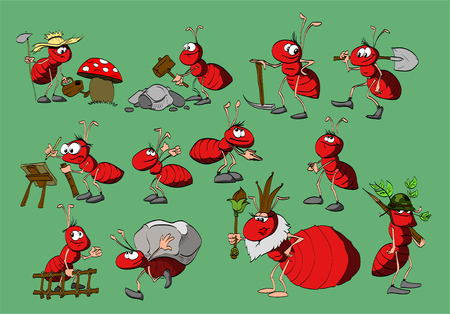 animal character: Set of cartoon red ants. Different profesions. Illustration
