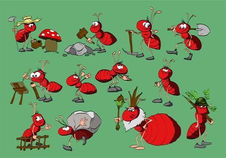 Set van cartoon rode mieren. Verschillende profesions. Vector Illustratie