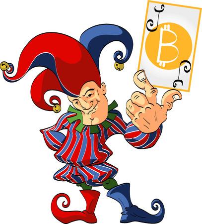 Bufón sostiene una ganadora bitcoin comodín.