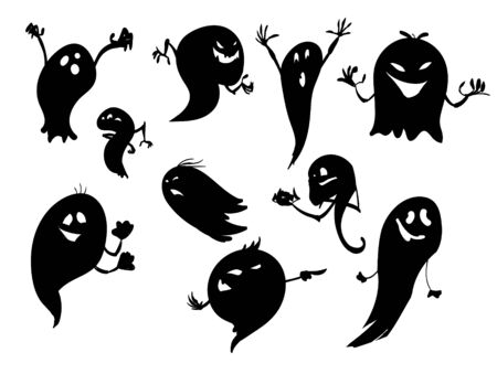 haunt: Set of vector ghost character illustrations. Illustration