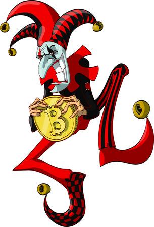 Kleurrijke vector illustratie van een joker met een Bitcoin en lachen.