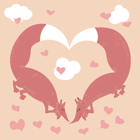 forming: Two pink foxes forming a heart.