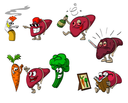 zanahoria caricatura: Conjunto de ilustraciones de dibujos animados del h�gado. Vectores