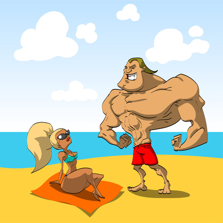 macho: Muscular guy on the beach trying to seduce a hot looking girl. Macho man. Illustration