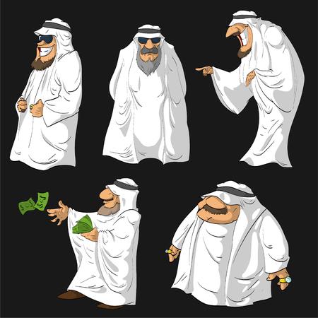Conjunto de ilustraciones vectoriales de dibujos animados jeques árabes.