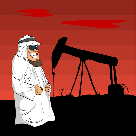 Cartoon illustration of a cartoon Arab Sheikh with an oil pump behind him during the desert sunset.
