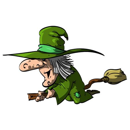 crone: Vector illustration of a Befana or a Witch flying on a broomstick, with green clothes  robe