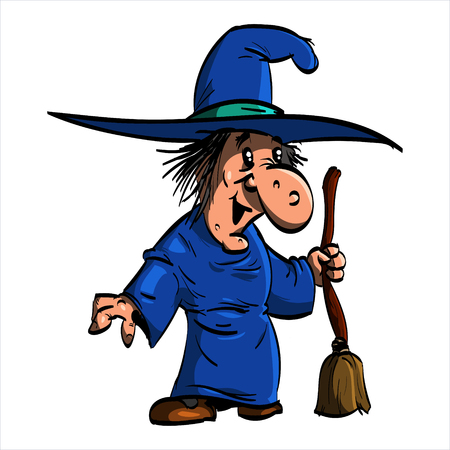 crone: Cartoon illustration of Befana or a wtich with blue clothes and a broomstick.