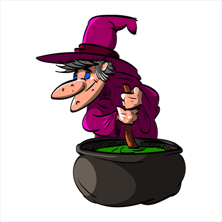 Cartoon illustration of Befana or a wtich with blue clothes and a hat, cooking in a cauldron Illustration