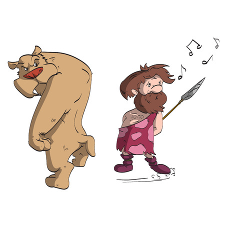 saber tooth: Cartoon vector illustration of a caveman hunting a sabertooth tiger, pretending that he is not stalking the angry cat, to avoid being eaten first.