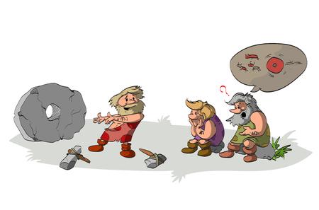 Cartoon vector illustratie van een cavement bedenken en presenteren van het wiel om zijn onwetend en dom stamleden en vrienden, die de aplications van de geniale uitvinding niet begrijpt.