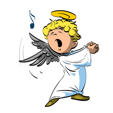 caroling: Colorful vector illustration of a singing angel with white robe.