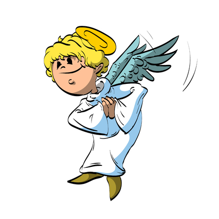 white robe: Colorful vector illustration of a cartoon angel with white robe and blonde hair