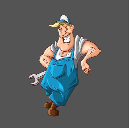 ilustración vectorial colorido de un fontanero o un mecánico de dibujos animados, el uso de traje unión azul, camisa blanca y un sombrero, que sostiene una llave, sonriendo