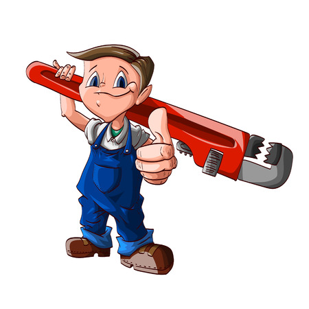plummer: Colorful vector illustration of a cartoon cute plumber boy, with a huge wrench on his shoulder, blue jumpsuit and white shirt Illustration