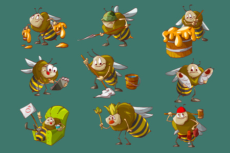 Colorful vector illustration of cartoon bee hive, workers, engeneer, caretaker, cleaner, builder, queen and soldier