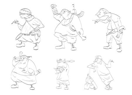 rebels: Line drawing vector illustrations of rebels, separatists