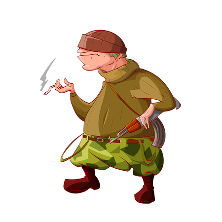 Colorful vector illustration of a cartoon rebel  separatist guerilla fighter. Wearing a hat, sweater, cammo pants, boots. Smoking a cigarette and holding a automatic asault rifle. Illustration