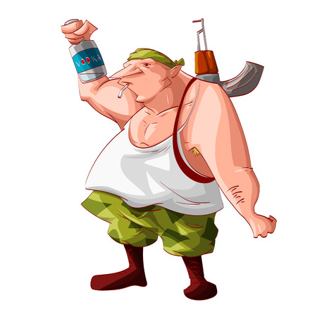 Colorful vector illustration of a cartoon drunk rebel  separatist guerilla fighter. Wearing a bandana, white tank, cammo pants, boots. Smoking a cigarette, automatic asault rifle on his shoulder and holding a vodka bottle. Illustration