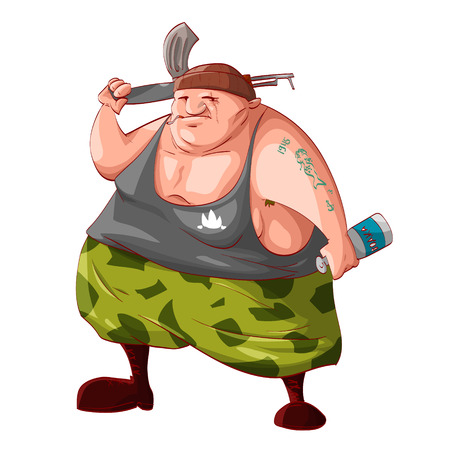 guerilla: Colorful vector illustration of a cartoon fat drunk rebel  separatist guerilla fighter holding a bottle of vodka, smoking cigarette Illustration