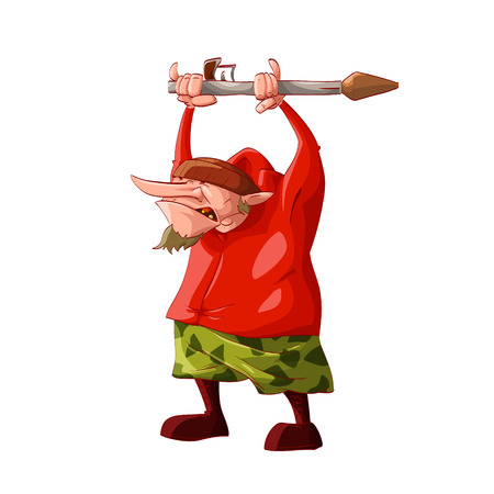 Colorful vector illustration of a cartoon rebel  separatist guerilla fighter. Wearing a hat,  red sweatshirt, cammo pants, boots holding an RPG ( Rocket-propelled grenade )