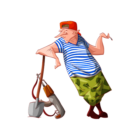 Colorful vector illustration of a cartoon rebel  separatist guerilla fighter with cammo pants and sailors t-shirt digging with a shovel Illustration