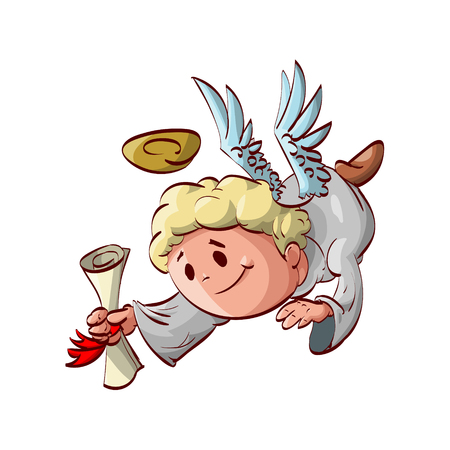 aureole: Cartoon illustration of an angel messenger flying down with a letter in hands.