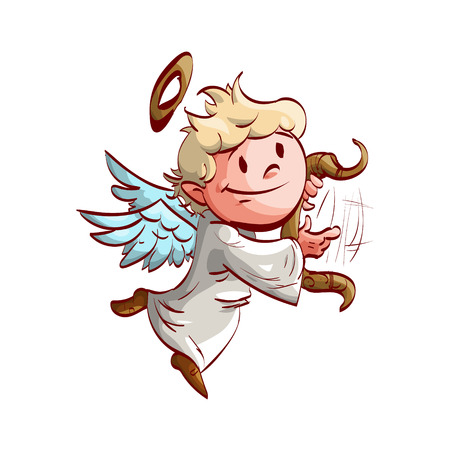Colorful  illustration of a cartoon cute angel, playing a lyre and flying.