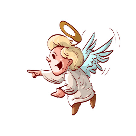 making fun: Colorful  illustration of a cute cartoon angel laughing or making fun of something.