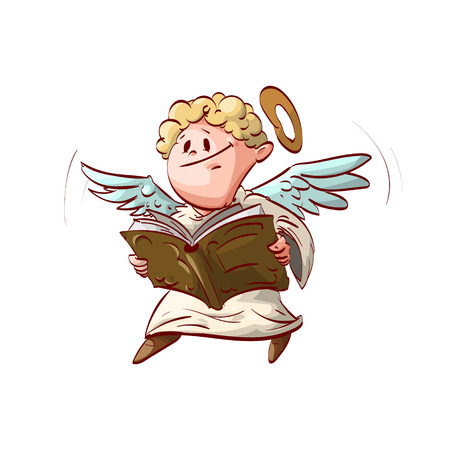 scribe: Colorful  illustration of a Cartoon cute angel, holding and reading a book. Illustration