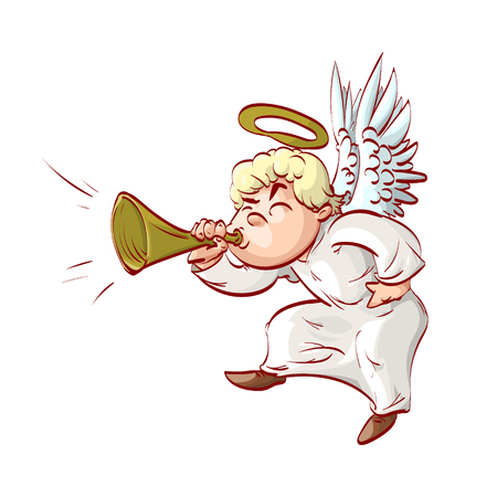 Cartoon illustration of a cartoon angel, playing ( blowing ) on a trumpet.