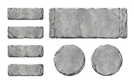 Set realistische Steinschnittstellenelemente Standard-Bild