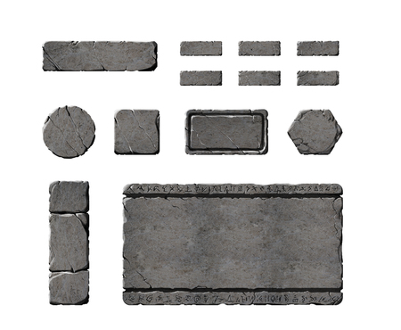 Set of realistic stone interface elements.