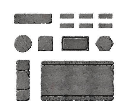Set van realistische steeninterface elementen.