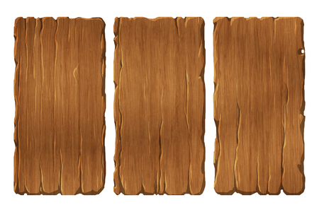 wood board: Colorful set of wooden panels or planks that can be used for realistic interface or signs Stock Photo
